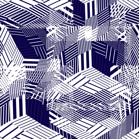 floor covering: Seamless pattern with parallel lines and geometric elements, blue dark infinite mosaic textile, abstract vector textured floor covering.