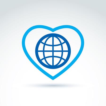 hintergrund liebe: Einfache Planeten-Symbol auf einem Herz gelegt, Vektor Globus konzeptionellen Symbol isoliert auf wei�em Hintergrund. Liebe Erde Konzept. Illustration