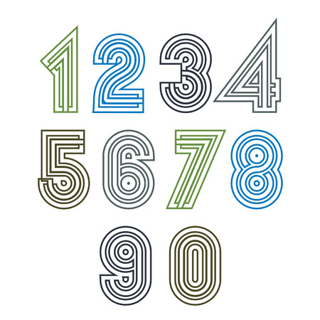 numeration: Retro geometric unusual striped numeration. Vector poster bright stylish numbers isolated on white background. Illustration