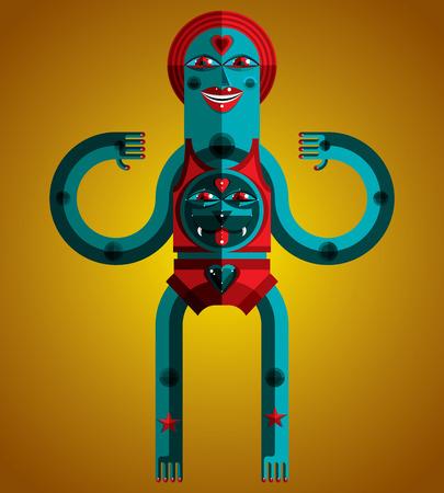 cubismo: Ilustración gráfica del vector, carácter antropomórfico aislado, avatar moderna decoración en estilo del cubismo. Dibujo Arte de chamán.
