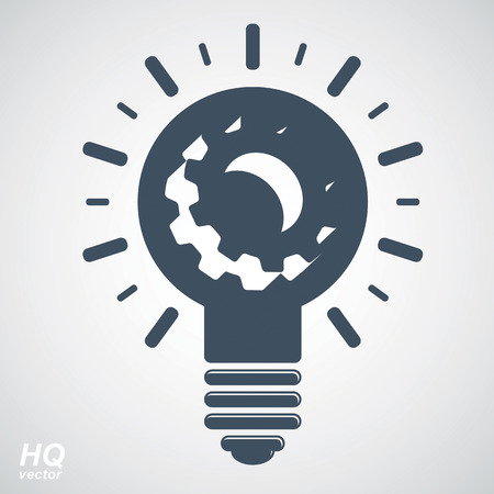 conceptual symbol: Vector light bulb, high quality energy design element. Technical solution conceptual symbol, manufacturing and business idea icon, graphic illumination symbol.