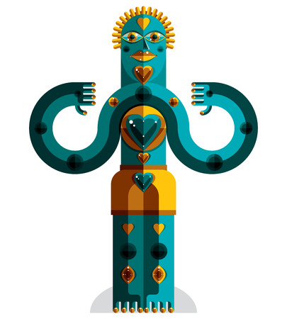modernistic: Cubism theme vector graphic illustration, modernistic symbol. Geometric cartoon character, mythic creature or shaman. Colorful drawing of  pagan idol.