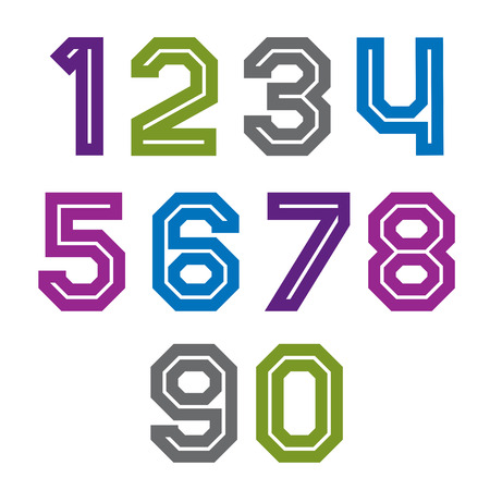 numeration: Retro colorful acute-angled geometric numeration. Vector stylish numbers best for use in web design and posters print.