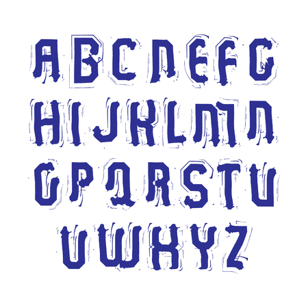 uppercase: Uppercase calligraphic letters drawn with ink brush, colorful vector font. Illustration