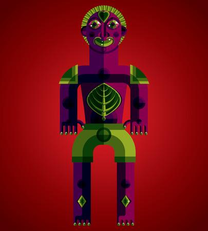 albero della vita: Avanguardia avatar, disegno colorato creato in stile cubista. Modernistic ritratto geometrico, illustrazione vettoriale di idolo. Albero di concetto di vita.