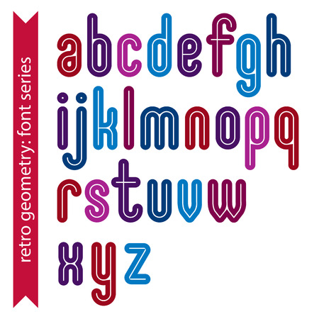 verb: Multicolored binary striped distinct font, geometric bold bright typeface. Colorful calligraphic lowercase letters with outline.