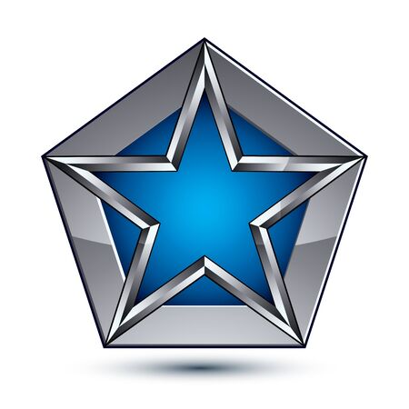silvery: Silvery blazon with pentagonal blue star, can be used in web and graphic design, clear EPS 8 vector. Heraldic silver symbol, 3d coat of arms.
