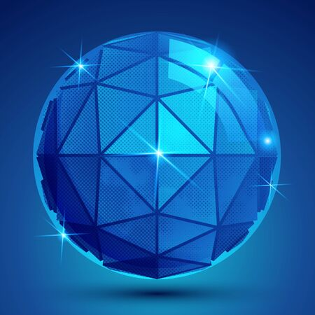 flashes: 3d blue sphere with flashes, shiny dotted futuristic round structure created from triangles. Illustration