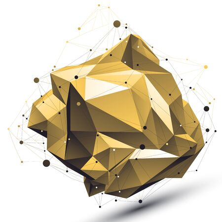 deformed: Spatial technological deformed shape with wire mesh, polygonal gold cybernetic wireframe object. Illustration