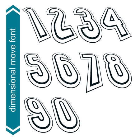 numeration: Outlined rotated vector numeration, monochrome lined numbers set.