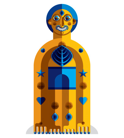 albero della vita: Illustrazione vettoriale di bizzarro avatar modernista, immagine cubismo tema. Disegno colorato di totem spirituale, fantastico sciamano isolato su bianco. Vettoriali