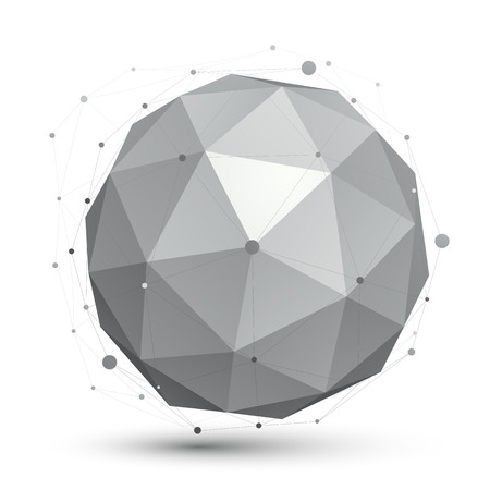 engineering design: 3D vector abstract tech orb illustration, perspective geometric spherical object with wireframe.