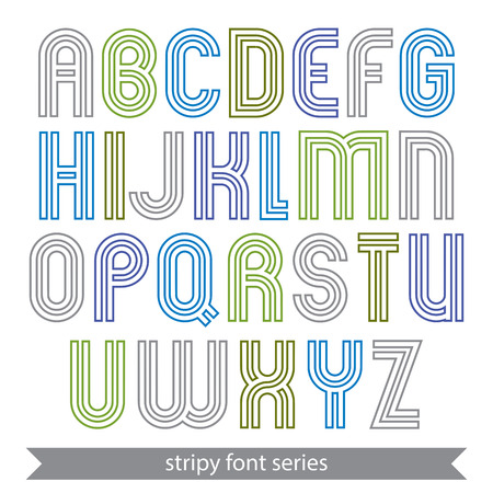 typescript: Poster elegant stripy typescript best for poster and headline print. Colorful lined calligraphic letters isolated on white background.