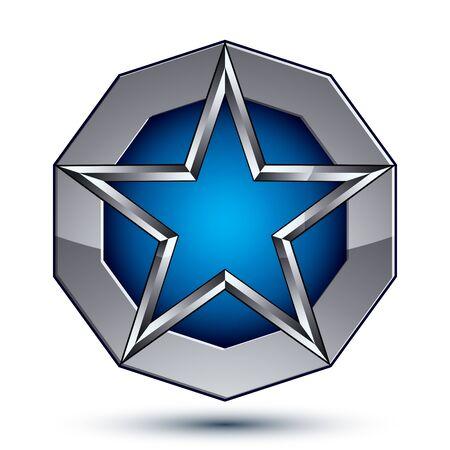 estrella azul: Celebrativo s�mbolo geom�trico met�lico, estilizado estrella azul pentagonal colocado sobre una superficie de plata redonda, mejor para su uso en web y dise�o gr�fico. Pulido del icono del vector 3d aislado en el fondo blanco. Vectores