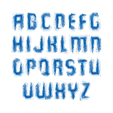 verb: Handwritten colorful vector uppercase letters, stylish capital letters set drawn with ink brush, doodle alphabet.