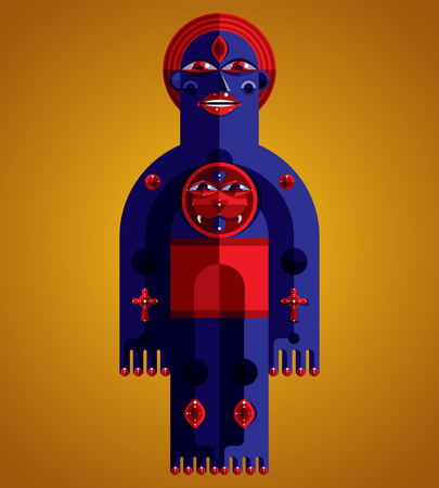 anthropomorphic: Spiritual totem vector illustration, meditation theme drawing. Anthropomorphic character, mystic idol isolated. Flat design style. Illustration