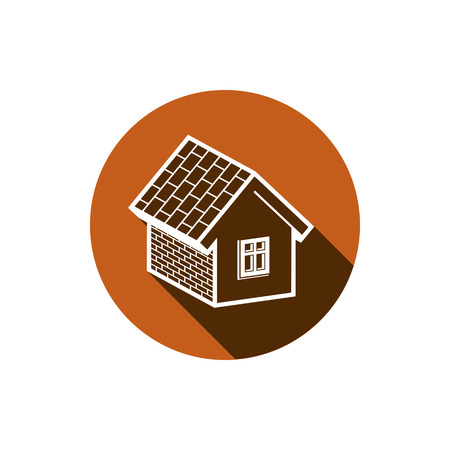 advertising sign: Country house constructed with bricks, home symbol. Real estate vector element. Conceptual icon for advertising and home insurance business.