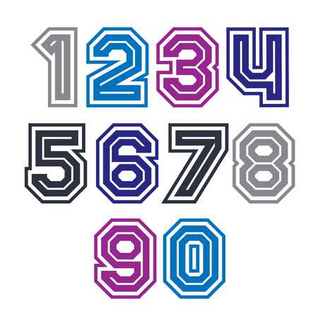 numeration: Colorful regular stripy numeration, modern vector poster numbers with outline and straight lines.