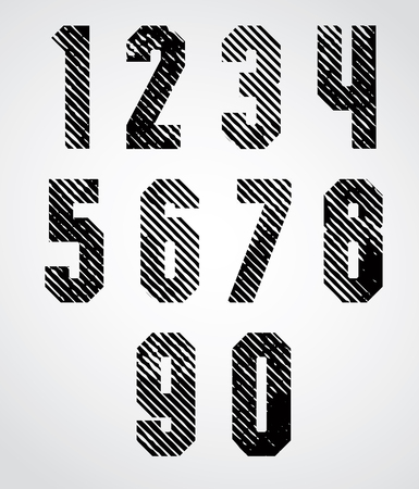 numeration: Black spotted numbers with diagonal lines on white background. Illustration