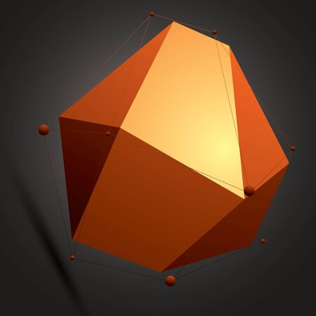 Spatial vector colorful digital object, 3d technology figure with geometric elements and black wireframe. Illustration