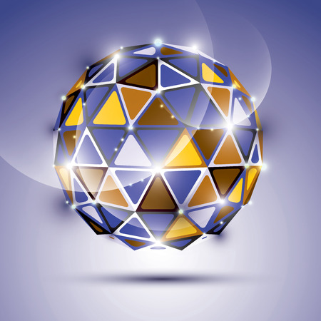 gemstone background: Abstract 3D vivid gala sphere with gemstone effect, twinkle orb created from triangles, eps10, violet background. Illustration