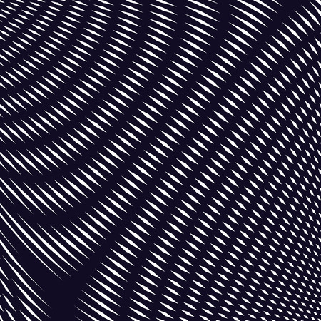 moire: Striped  psychedelic background with black and white moire lines. Gradient optical pattern, motion effect tile.
