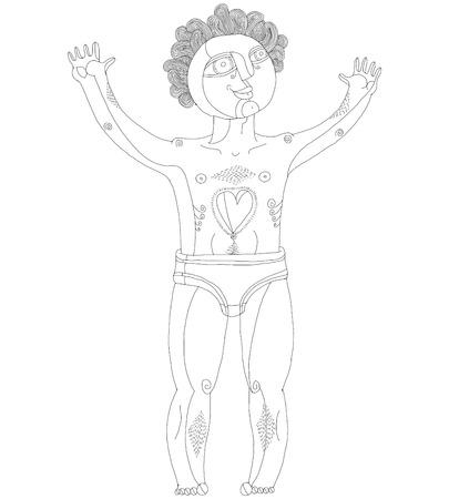 nude mann: Vector schwarz-wei� Abbildung der nackte Mann, Adam Konzept. Hand gezeichnete Bild der Person auf wei�em als Symbol f�r Liebe und G�te. Illustration