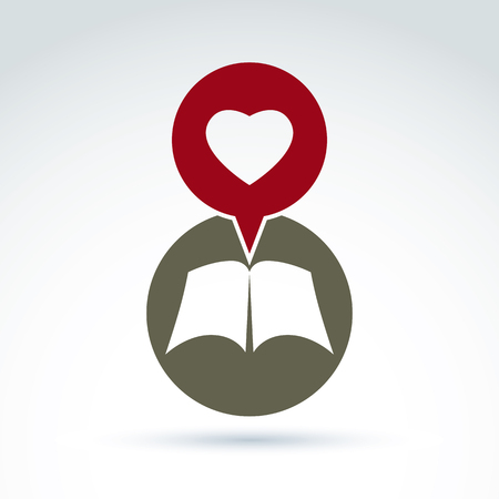 disclosed: Love story concept. Vector open book with blank sheets placed in a circle, illustration of a simple disclosed book icon and a red speech bubble with a heart.
