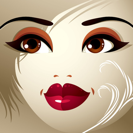 belle dame: Parties du visage d'une belle jeune femme avec un brillant maquillage, les l�vres, les yeux et les sourcils. Les gens de l'expression du visage, la femme avec coiffure moderne.