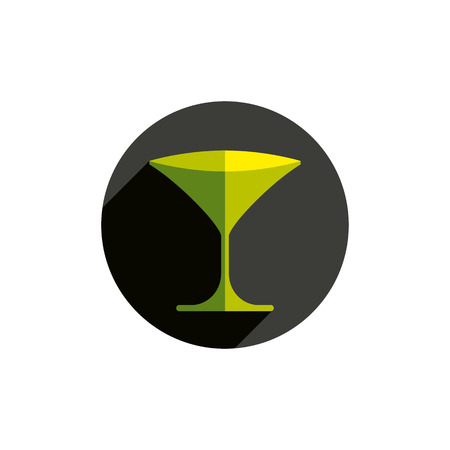 conceptual symbol: HoReCa graphic element, sophisticated martini glass. Alcohol theme conceptual symbol, party and leisure idea.