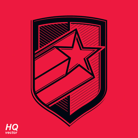 military shield: Vector military shield with pentagonal comet star, protection heraldic sheriff blazon. Ussr communistic conceptual symbol. Forces graphical coat of arms. Soviet Union theme.