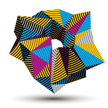 geometric shape: Vector asim�trica colorido a rayas objeto abstracto, complicada forma geom�trica con l�neas paralelas.