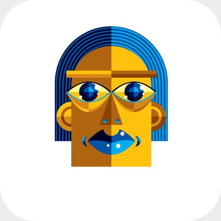 cubismo: Cara de la personalidad colorida ilustración vectorial a partir de figuras geométricas. Imagen Diseño plano, estilo del cubismo.