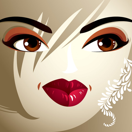 expression visage: Parties du visage d'une belle jeune femme avec un brillant maquillage, les l�vres, les yeux et les sourcils. Les gens de l'expression du visage, la femme avec coiffure moderne.