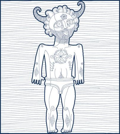 nude mann: Vektor-Illustration der nackten Mann mit Stern-Symbol, mystische Kreatur. Hand gezeichnet ausgekleidet Bild Person auf wei�em symbolisieren Erfolg.