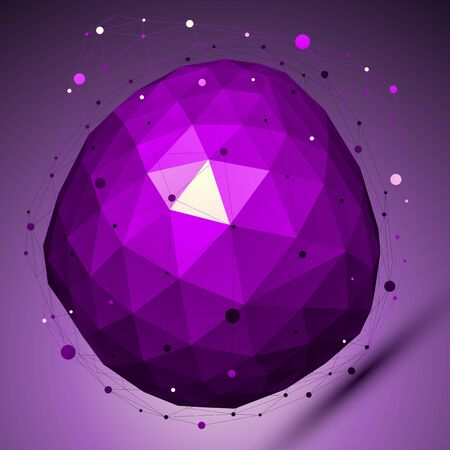 deformed: Purple geometric vector abstract 3D complicated lattice backdrop, lilac deformed conceptual gemstone illustration.