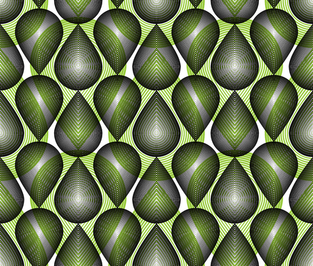 overlie: Colorful illusive abstract seamless pattern with overlapping geometric shapes. Vector symmetric lined transparent backdrop.