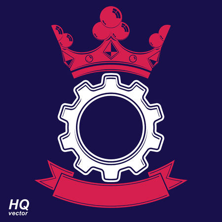 coronet: Vector industrial design element, cog wheel with a coronet and curvy ribbon. Best engineering project award conceptual symbol. Royal heraldic coat of arms. Illustration