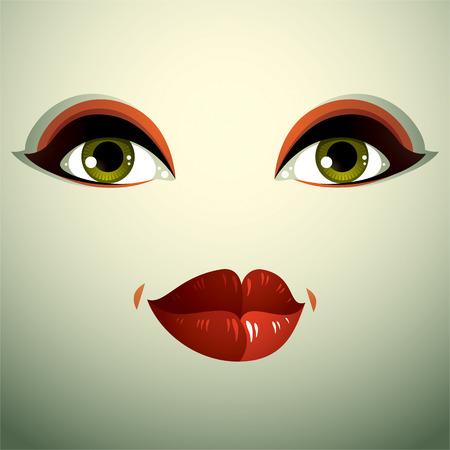expression visage: L'expression du visage d'une jolie jeune femme. Coquette dame visage, les yeux et les l�vres humaines.