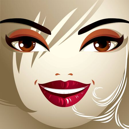 beautiful girl face: Emotional expression on the face of a cute girl. Beautiful happy smiling woman with a modern makeup and stylish hairdo with locks. Illustration