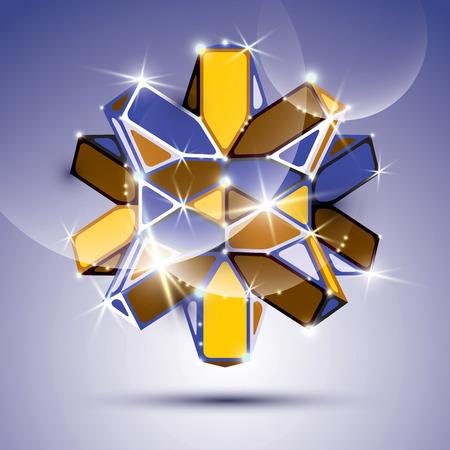 facet: 3D metal twinkle kaleidoscope complicated object. Vector festive complex geometric illustration - eps10 shiny facet gemstone.