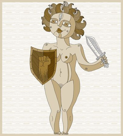 nude woman: Hand drawn vector lined illustration of nude woman with sword and shield, guardian angel concept. Safety theme, Eve metaphor.