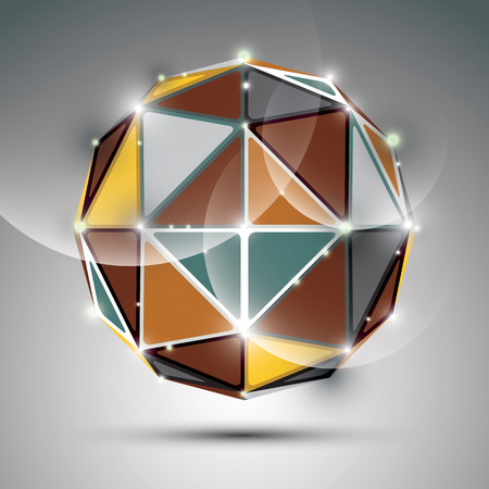 twinkle: Abstract 3D metal festive sphere with sparkles, bright twinkle orb created from triangles, disco theme.