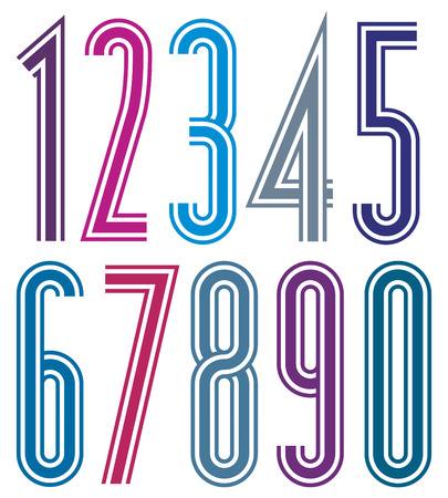 triple: Colorful geometric bright striped numbers with triple lines. Illustration