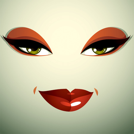 tricky: Attractive woman with stylish bright make-up. Sexy Caucasian tricky lady. Human eyes and lips reflecting emotions.
