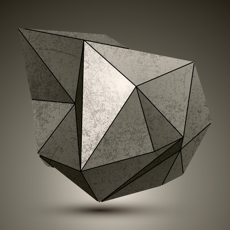 deformed: Deformed dimensional facet bronze object, 3d complex design element.