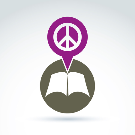 disclosed: Peace concept. Vector open book with blank sheets placed in a circle, illustration of a simple disclosed book icon and a pink speech bubble with a peace sign. Illustration