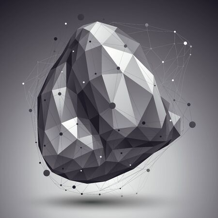 eps8: Triangular abstract grayscale 3D illustration, vector digital eps8 lattice object placed over dark background. Illustration