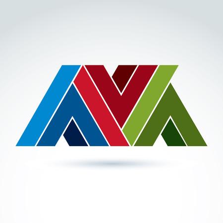 attribute: Vector abstract element gemaakt van vinkjes en V tekenen. Geometrische kleurrijke symbool op een witte achtergrond, corporate attribuut.