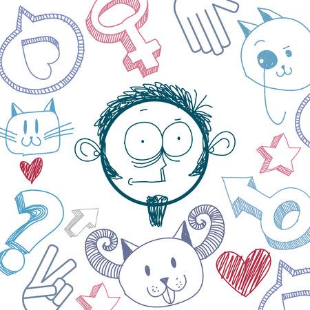temperamento: Arte del vector colorido dibujo de persona sorprendida, educaci�n y sociales elementos de dise�o de la red aislados en blanco. Ilustraci�n Alegor�a, las emociones y el concepto de temperamento humano. Vectores